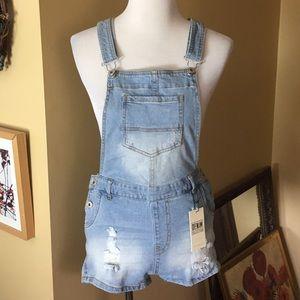 LOVETREE sz LARGE Overalls Denim Shorts $65 NEW